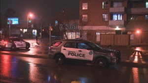 Police say a pedestrian was struck by a vehicle near the intersection of Eglinton Avenue West and Gabian Way on Jan. 15, 2021.