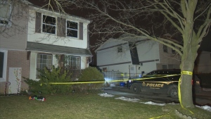 A police cruiser is parked outside a Brantford home where a fire broke out on the morning of Jan. 16, 2021.