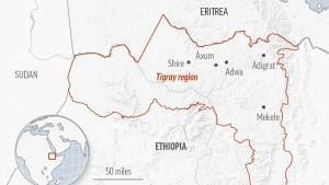 Map of the Tigray region in Ethiopia.