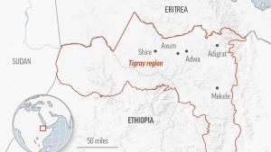Map of the Tigray region in Ethiopia.