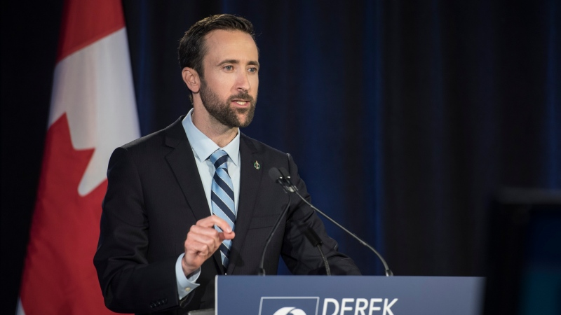 Conservative Party of Canada leadership candidate Derek Sloan speaks during the English debate in Toronto on Thursday, June 18, 2020. THE CANADIAN PRESS/ Tijana Martin