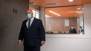 Ontario Premier Doug Ford walks out after being given a tour of a digital Intensive Care Unit room at Cortellucci Vaughan Hospital in Vaughan, Ontario on Monday, January 18, 2021.  THE CANADIAN PRESS/Frank Gunn