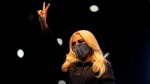 Lady Gaga arrives to speak during a drive-in rally for Democratic presidential candidate former Vice President Joe Biden at Heinz Field, Monday, Nov. 2, 2020, in Pittsburgh. (AP Photo/Andrew Harnik)