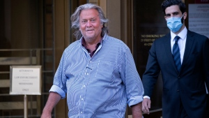 President Donald Trump's former chief strategist Steve Bannon leaves federal court in New York Thursday, Aug. 20, 2020, after pleading not guilty to charges that he ripped off donors to an online fundraising scheme to build a southern border wall. (AP Photo/Craig Ruttle)