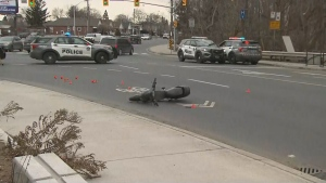 A male cyclist has critical injuries after being struck by a vehicle in the city's east end.