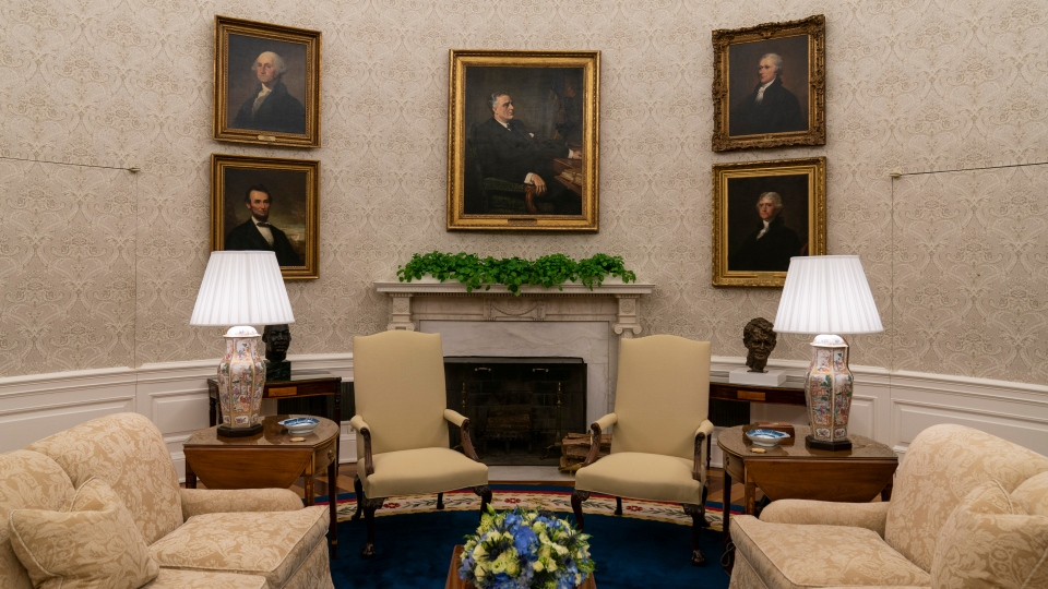 The Oval Office of the White House is newly redecorated for the first day of President Joe Biden's administration, Wednesday, Jan. 20, 2021, in Washington. (AP Photo/Alex Brandon)