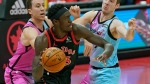 Toronto Raptors forward Pascal Siakam (43) drives around Miami Heat guard Goran Dragic (7) and guard Duncan Robinson (55) during the first half of an NBA basketball game Wednesday, Jan. 20, 2021, in Tampa, Fla. (AP Photo/Chris O'Meara)