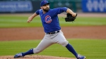 Chicago Cubs pitcher Tyler Chatwood throws against the Detroit Tigers in the first inning of a baseball game in Detroit, Tuesday, Aug. 25, 2020. (AP Photo/Paul Sancya)