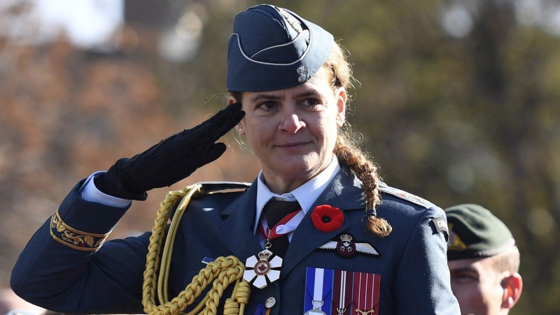 Governor General Julie Payette salutes during the march past during the National Remembrance Day Ceremony at the National War Memorial in Ottawa on Saturday, Nov. 11, 2017. THE CANADIAN PRESS/Justin Tang