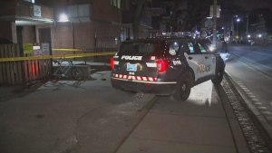 Toronto police are investigating a stabbing in the area of Sherbourne and Dundas on Thursday, Jan. 21, 2021.