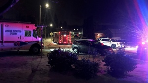 There is a heavy police presence in the area of Henderson Drive and Chid Drive in Aurora as police try to apprehend a male who has allegedly barricaded himself inside a home. (Simon Sheehan/ CP24)