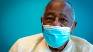 Baseball Hall of Famer Hank Aaron sits for a portrait after receiving his COVID-19 vaccination on Tuesday, Jan. 5, 2021, at the Morehouse School of Medicine in Atlanta. (AP Photo/Ron Harris)
