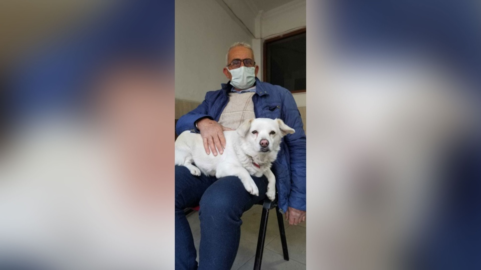 Boncuk, pictured here with owner Cemal Senturk, waited outside the hospital for six days. (Medical Park Hospital via CNN)