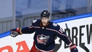 Columbus Blue Jackets centre Pierre-Luc Dubois (18) celebrates his goal against the Toronto Maple Leafs during third period NHL Eastern Conference Stanley Cup playoff action in Toronto on Thursday, August 6, 2020. THE CANADIAN PRESS/Nathan Denette