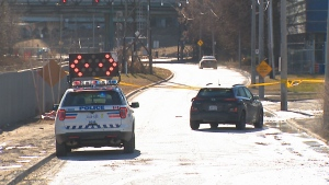 A pedestrian was struck by a vehicle on Bayview Avenue Extension, north of Queen Street East.