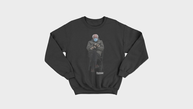 Bernie Sanders turned his inauguration meme into a sweatshirt for charity. (Friends of Bernie Sanders via CNN)