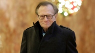 FILE - In this Dec. 1, 2016 file photo, Larry King arrives at Trump Tower in New York. King, who interviewed presidents, movie stars and ordinary Joes during a half-century in broadcasting, has died at age 87. (AP Photo/Richard Drew, File)