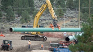 Construction of the Trans Mountain pipeline is seen under way in Kamloops, B.C., Tuesday, Sept. 1, 2020. THE CANADIAN PRESS/Jonathan Hayward