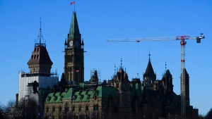 Construction renovations continue on Parliament Hill in Ottawa on Thursday, Dec. 17, 2020. THE CANADIAN PRESS/Sean Kilpatrick