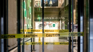The doors of Hudson's Bay department store remain closed to in-store Christmas shoppers as Covid restrictions remain in place on Saturday  December 19, 2020. THE CANADIAN PRESS/Chris Young