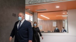 Ontario Premier Doug Ford and Health Minister Christine Elliot walk out after being given a tour of a digital Intensive Care Unit room at Cortellucci Vaughan Hospital in Vaughan, Ontario on Monday, January 18, 2021.  The new hospital is being opened to take patients from other hospitals that are strained by COVID-19. THE CANADIAN PRESS/Frank Gunn