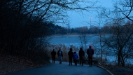 Passers-by walk in High Park, in Toronto, Thursday, Jan. 14, 2021. Thursday marks the first day of the Ontario govenment's emergency stay at home order, issued as a response to the increased spread of COVID-19. THE CANADIAN PRESS/Chris Young