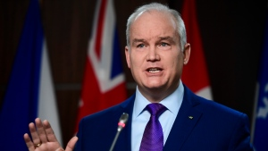 Conservative leader Erin O'Toole holds a press conference on ParlIament Hill in Ottawa on Monday, Jan. 25, 2021. Lawmakers return to the House of Commons today following the winter break. THE CANADIAN PRESS/Sean Kilpatrick