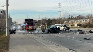Emergency crews arrive on scene of a collision in Mississauga that left one male with life-threatening injuries. (CP24/Tom Podolec)