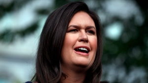 In this Wednesday, May 22, 2019, file photo, White House press secretary Sarah Sanders talks with reporters outside the White House, in Washington. Former White House spokeswoman Sanders is running for Arkansas governor, a source told The Associated Press, late Sunday, Jan. 24, 2021. (AP Photo/Evan Vucci, File)