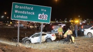 A wrecked vehicle is seen in the ditch between the Niagara and Toronto-bound lanes of the QEW on Jan. 26, 2021. (Andrew Collins)