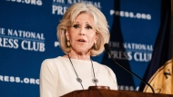 Actress and activist Jane Fonda speaks at an event at the National Press Club, Friday, Dec. 17, 2019 in Washington. (AP Photo/Michael A. McCoy)