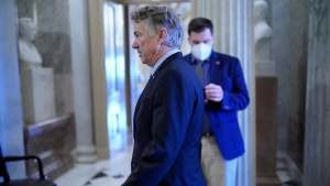 Sen. Rand Paul, R-Ky., arrives at the chamber to challenge the constitutionality of the impeachment against former President Donald Trump, at the Capitol in Washington, Tuesday, Jan. 26, 2021. (AP Photo/J. Scott Applewhite)