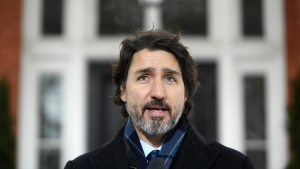 Prime Minister Justin Trudeau speaks during a news conference on the COVID-19 pandemic outside his residence at Rideau Cottage in Ottawa, on Tuesday, Jan. 26, 2021. THE CANADIAN PRESS/Justin Tang