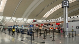 The nearly deserted departures level at Pearson Airport in Toronto on Tuesday January 26, 2021. THE CANADIAN PRESS/Frank Gunn