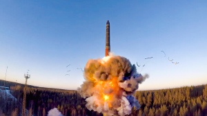 In this file photo taken from a video distributed by Russian Defense Ministry Press Service, on Wednesday, Dec. 9, 2020, a rocket launches from missile system as part of a ground-based intercontinental ballistic missile test launched from the Plesetsk facility in northwestern Russia. Russia and the United States exchanged documents Tuesday Jan 26, 2021, to extend the New START nuclear treaty, their last remaining arms control pact, the Kremlin said. The Kremlin readout of a phone call between U.S. President Joe Biden and Russian President Vladimir Putin said they voiced satisfaction with the move. (Russian Defense Ministry Press Service via AP, File)