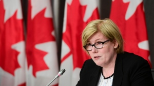 Minister of Employment, Workforce Development and Disability Inclusion Carla Qualtrough holds a press conference on Parliament Hill in Ottawa on Thursday, Sept. 24, 2020. THE CANADIAN PRESS/Sean Kilpatrick
