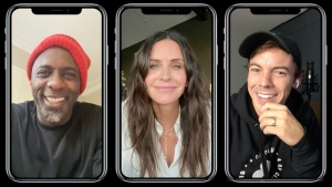 "Courteney Cox appears alongside Canadian rapper Connor Price, right, and actor Idris Elba, left, in the music video for their track ""Courteney Cox"" in this undated handout photo. THE CANADIAN PRESS/HO"