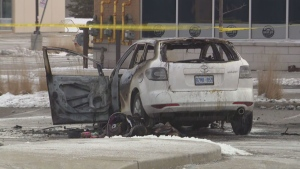 A woman is in serious condition following a vehicle fire in Mississauga on Thursday.