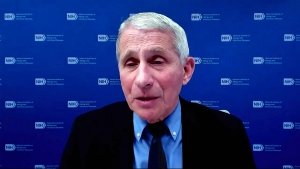 In this image from video, Dr. Anthony Fauci, director of the National Institute of Allergy and Infectious Diseases and chief medical adviser to the president, speaks during a White House briefing on the Biden administration's response to the COVID-19 pandemic Wednesday, Jan. 27, 2021, in Washington. (White House via AP)