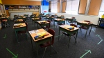 A grade six class room is shown at Hunter's Glen Junior Public School which is part of the Toronto District School Board (TDSB) during the COVID-19 pandemic in Scarborough, Ont., on Monday, September 14, 2020. THE CANADIAN PRESS/Nathan Denette