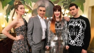 "This image released by Pop TV shows, from left, Annie Murphy, Eugene Levy, Catherine O'Hara and Dan Levy from the series ""Schitt's Creek."" (Pop TV via AP)"