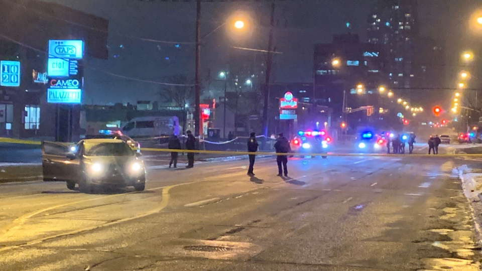 Toronto police investigate a fatal shooting near Lawrence Avenue West and Sage Avenue Monday February 8, 2021. (Kayla Williams /CP24)