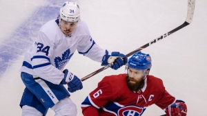 Toronto Maple Leafs centre Auston Matthews (34) chases Montreal Canadiens defenceman Shea Weber (6) during first period NHL exhibition hockey action ahead of the Stanley Cup playoffs in Toronto on Tuesday, July 28, 2020. THE CANADIAN PRESS/Frank Gunn