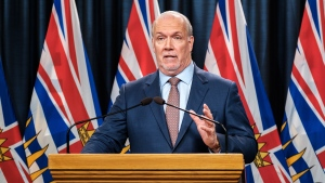 Premier John Horgan addresses the media on Feb. 10, 2021. (B.C. government/Flickr)
