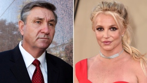 """In this combination photo, Jamie Spears, father of singer Britney Spears, leaves the Stanley Mosk Courthouse on Oct. 24, 2012, in Los Angeles, and Britney Spears arrives at the premiere of """"Once Upon a Time in Hollywood"""" on July 22, 2019, in Los Angeles. (AP Photo)"""