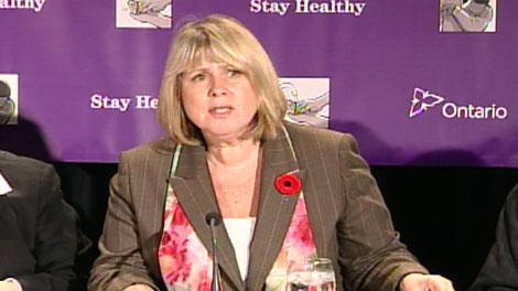 Ontario's Health Minister Deb Matthews addresses a Monday, Nov. 2, 2009 news conference.