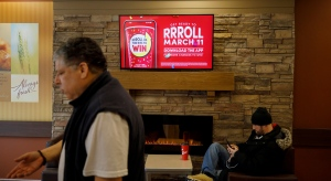 Signage for Tim Hortons' Roll Up the Rim contest is seen inside a Tim Hortons restaurant in Toronto, Friday, March 6, 2020. THE CANADIAN PRESS/Cole Burston
