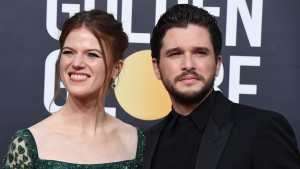 Rose Leslie, left, and Kit Harington arrive at the 77th annual Golden Globe Awards on Jan. 5, 2020, in Beverly Hills, Calif. (Photo by Jordan Strauss/Invision/AP, File)