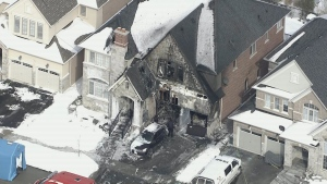 The exterior of a home in Georgetown gutted by fire is shown on Feb. 17, 2021. (Chopper 24)