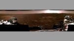 This composite image made available by NASA, produced from photos captured Feb. 20, 2021 by the Perseverance Mars rover, shows the surface of Mars. It landed on Thursday, Feb. 18. (NASA/JPL-Caltech via AP)